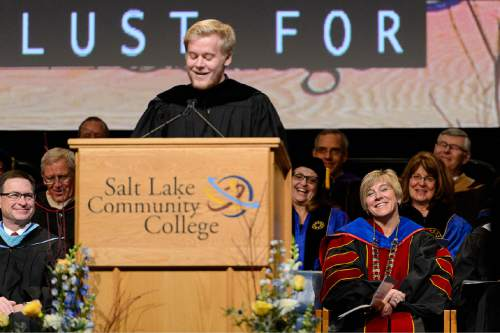 Trent Nelson  |  The Salt Lake Tribune Max Huftalin introduces his mother, Deneece Huftalin at her inauguration as president of Salt Lake Community College after a year as interim president, in Taylorsville, Friday January 9, 2015.