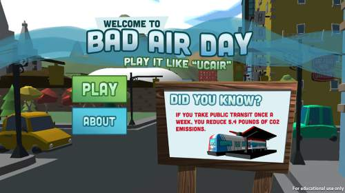 Courtesy of The University of Utah A screenshot from the Bad Air Day video game.