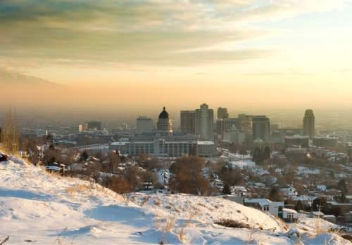 Rick Egan  |  The Salt Lake Tribune  Afternoon haze in Salt Lake City, Saturday, January 3, 2015
