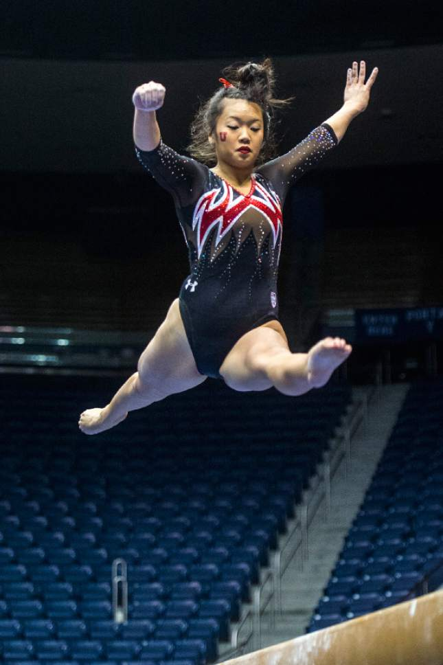 Chris Detrick  |  The Salt Lake Tribune Utah's Kari Lee competes on the beam during the gymnastics meet at the Marriott Center at Brigham Young University Friday January 9, 2015.