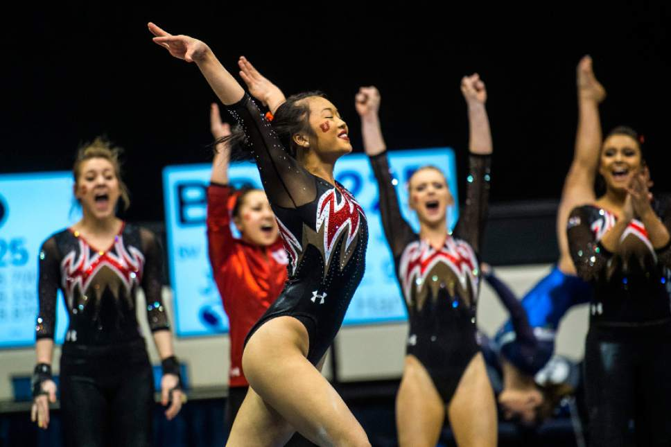 Chris Detrick  |  The Salt Lake Tribune Utah's Kari Lee competes on the floor during the gymnastics meet at the Marriott Center at Brigham Young University Friday January 9, 2015.
