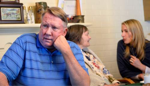 Al Hartmann  |  The Salt Lake Tribune Merrill Cook former congressman and perennial candidate, is now a full-time caregiver for his wife, Camille who suffers from Alzheimer's disease.  Their daughter Alison talks to her mother Camille.