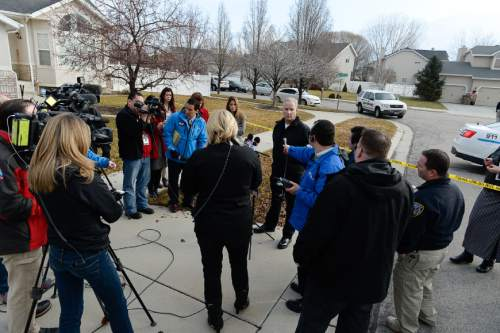 Francisco Kjolseth  |  The Salt Lake Tribune Deputy Assistant Chief for Draper Police John Eining addresses the media in the Cranberry Hill neighborhood in Draper on Wednesday morning, Jan. 14, 2015, following the shooting of a suspect by a West Valley police officer who was on his way to work. The officer who asked for back up from Draper police when he noticed the individual slumped over his steering wheel, led to a struggle with the individual resisting arrest and brandishing a large kitchen type knife.