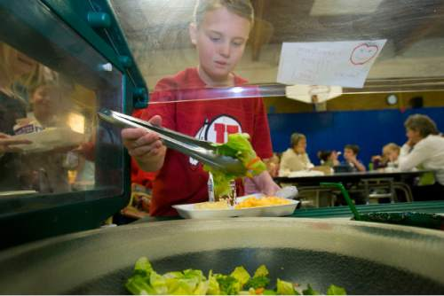 Al Hartmann | Salt Lake Tribune Burton Elementary third grader Ryan Cooley heaps on fresh lettuce to his lunch tray from the salad and fruit bar in the lunchroom at Burton Elementary School in Kaysville Monday.   The school participates in the Gold Medal School program which stresses a healthy lifestyle through eating well and excercise.  Budget cuts could cut the program in half.  The school just started the program this year.