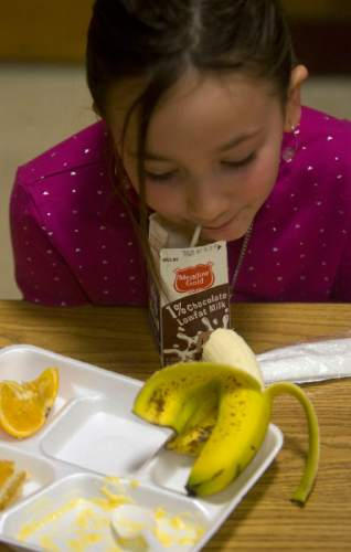 Al Hartmann | Salt Lake Tribune Burton Elementary third grader Savanah Schader sips her low fat chocolate milk after eating her macaroni and cheese in the lunchroom at Burton Elementary School in Kaysville.  She loves fruit and saves her orange slices and banana last for desert.  She said that her favorite fruit is the banana which rhymes with her name, of course. The school participates in the Gold Medal School program which stresses a healthy lifestyle through eating well and excercise.  Budget cuts could cut the program in half.  The school just started the program this year.