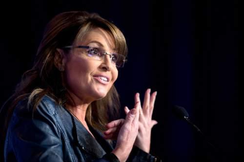 FILE - In a Friday, Sept. 26, 2014 file photo, former Alaska Gov. Sarah Palin speaks at the 2014 Values Voter Summit in Washington.   (AP Photo/Manuel Balce Ceneta, File)