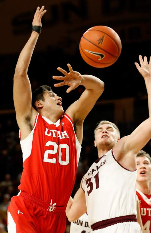 Utah's Chris Reyes (20) is fouled by Arizona State' Jonathan Gilling during the second half of an NCAA college basketball game, Thursday, Jan. 15, 2015, in Tempe, Ariz. (AP Photo/Matt York)