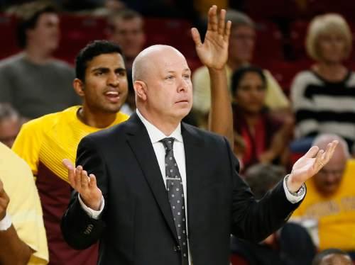 Arizona State head coach Herb Sendek reacts to a call during the first half of an NCAA college basketball game against Utah, Thursday, Jan. 15, 2015, in Tempe, Ariz. (AP Photo/Matt York)