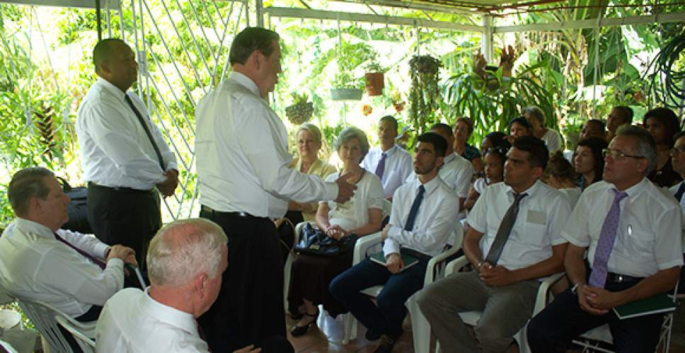 Courtesy  |  Intellectual Reserve  Elder Jeffrey R. Holland speaks to members of the El Cotorro group in Havana, Cuba, on June 14. Elder Holland created a branch from the group the following day.