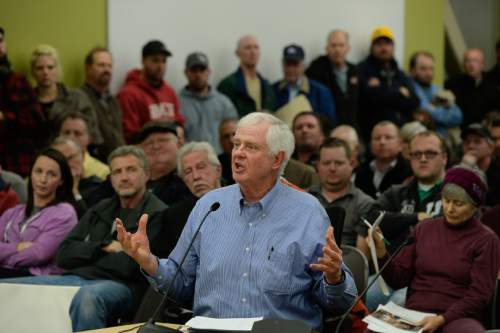 "Francisco Kjolseth  |  The Salt Lake Tribune  Steve Pohlman says ""where's the compromise?"" as he expresses his opposition to the wood burning ban as the State holds a packed public hearing on Gov. Gary Herbert's proposed wintertime wood burn ban in Salt Lake City. The hearing held at the Salt Lake City Department of Environmental Quality is one of 7 scheduled across northern Utah."