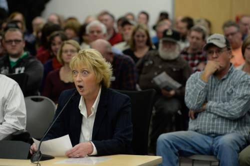 Francisco Kjolseth  |  The Salt Lake Tribune  Eileen Bagley expresses her opposition to the wood burning ban as the State holds a packed public hearing on Gov. Gary Herbert's proposed wintertime wood burn ban in Salt Lake City. The hearing held at the Salt Lake City Department of Environmental Quality is one of 7 scheduled across northern Utah.