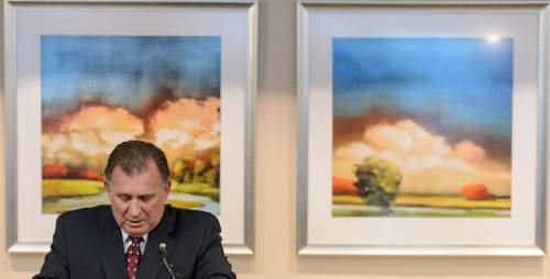 Trent Nelson  |  The Salt Lake Tribune Sen. Curt Bramble talks about today's death of Rebecca Lockhart, former speaker of the Utah House, at the University of Utah Hospital in Salt Lake City, Saturday January 17, 2015.