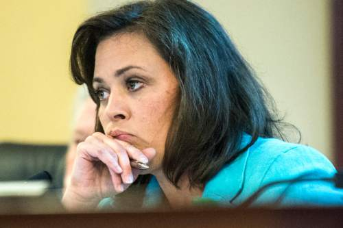Chris Detrick  |  The Salt Lake Tribune Speaker Becky Lockhart, Co-Chair, talks to UTA General Manager Mike Allegra during a Audit Subcommittee of the Legislative Management Committee Tuesday August 26, 2014.