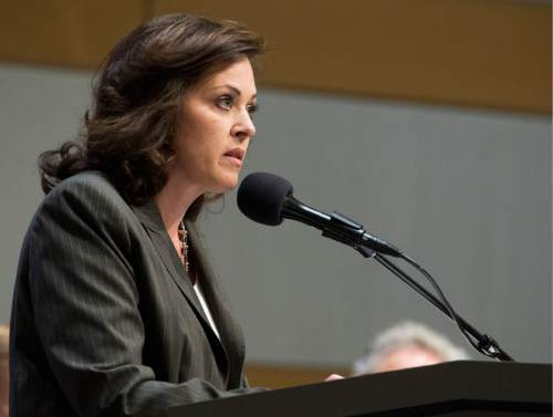 Rick Egan  |  The Salt Lake Tribune Speaker Becky Lockhart argues her side during the debate about who should manage Utah's public lands at the Salt Lake City Library, Wednesday, May 14, 2014