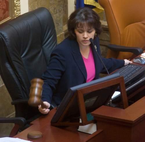 Al Hartmann   |  The Salt Lake Tribune  House Speaker Becky Lockhart slams down the gavel to start the final day of the 2011 legislative session at 9:15 Thursday March 10, 2011.