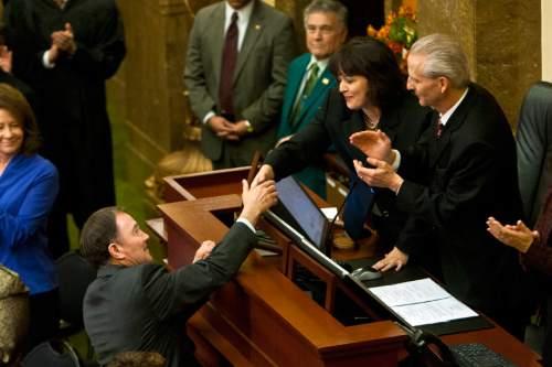 Chris Detrick  |  The Salt Lake Tribune Utah Gov. Gary Herbert shakes hands with Speaker of the House Becky Lockhart and Senate President Wayne Niederhauser during his State of the State address at the Utah State Capitol Wednesday January 30, 2013.