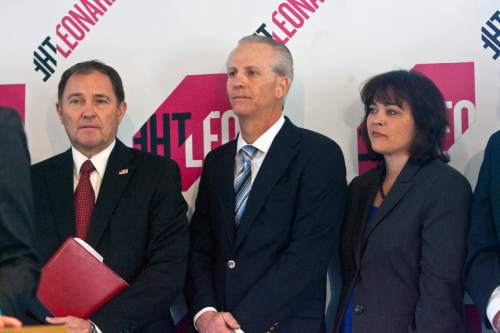 Chris Detrick  |  The Salt Lake Tribune  Utah Governor Gary R. Herbert, Senate President Wayne Niederhauser,  and Speaker of the House Becky Lockhart, listen during a press conference at The Leonardo Wednesday April 17, 2013. A display including some of the Dead Sea Scrolls -- the parchments that include the earliest known manuscripts of the Hebrew Bible -- is coming to Salt Lake City. Some 20 scrolls, some of which date back to near the time of Christ, are part of an exhibit that will open on an as yet unspecified date in November at The Leonardo, downtown Salt Lake City's art-and-technology museum, officials announced today.