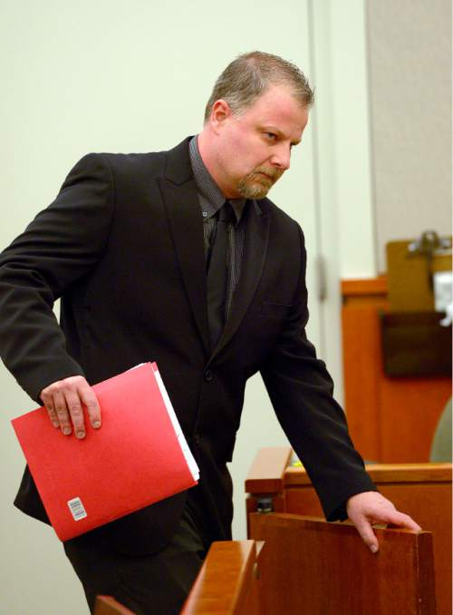 Leah Hogsten  |  The Salt Lake Tribune Davis County Attorney's Office investigator Brett Baggs is testifies in Judge John R. Morris' 2nd District Court, Thursday, January 15, 2015. Brianne Altice, is facing a total of 14 felony charges for allegedly having sexual relationships with three male students: five counts of first-degree felony rape, two counts of first-degree felony forcible sodomy, three counts of second-degree felony forcible sexual abuse, along with three counts of unlawful sexual activity with a minor and one count of dealing harmful material to a minor, all third-degree felonies.