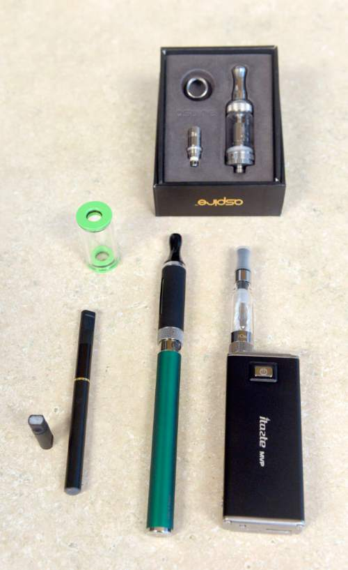 Al Hartmann  |  The Salt Lake Tribune Examples of first though third generations of e-cigarettes from left to right.  The devices continue to gain in popularity as the state of Utah and local health departments clamp down, trying to keep them away from children and teenagers and ensure the labels show the true content of nicotine. The governor wants to tax e-cigarettes, and Utah lawmakers are likely to take up legislation again.