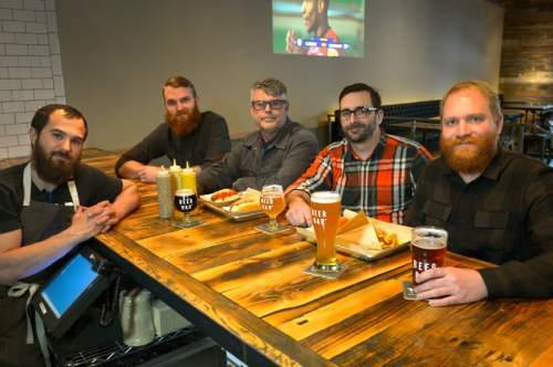 Rick Egan     The Salt Lake Tribune  L-R Brendan Kawakami, Kyle Trammell, Jeff Barnard, Duncan Burrell, Richard Noel, at the Beer Bar, 155 E. 200 South in Salt Lake, Wednesday, March 26, 2014