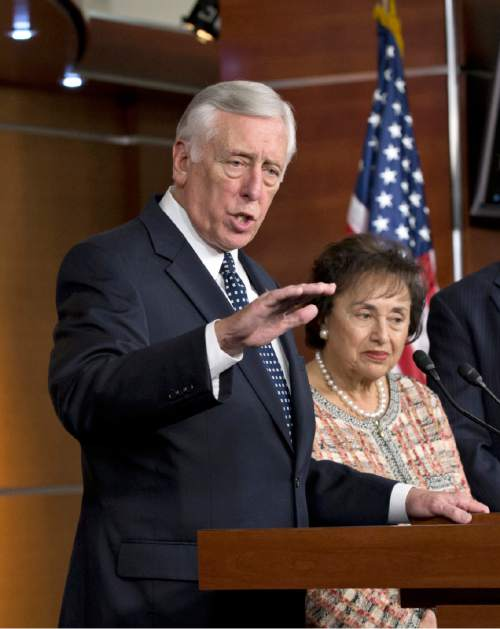 Minority Whip Steny Hoyer, D-Md., joined by Rep. Nita Lowey, D-N.Y., the ranking member of the House Appropriations Committee, discusses the unfinished work of Congress and the struggle for Republican and Democratic budget negotiators to reach a compromise, at a news conference on Capitol Hill in Washington, Thursday, Dec. 5, 2013.  (AP Photo/J. Scott Applewhite)