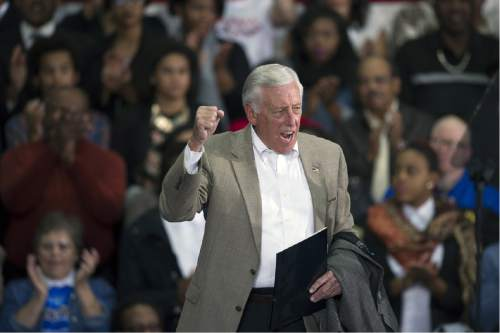 Rep. Steny Hoyer, D-Md., campaigns for Maryland Gubernatorial Democrat candidate Lt. Governor Anthony Brown at an Early Vote Rally at Dr. Henry Wise High School in Upper Marlboro, Md., Sunday, Oct. 19, 2014.   (AP Photo/Cliff Owen)