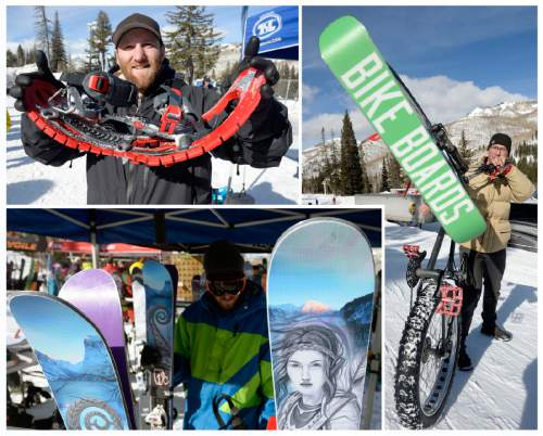 Al Hartmann  |  The Salt Lake Tribune The Outdoor Retailers Winter Market trade show kicks off with their demo day at Solitude Mountain Resort on Tuesday, Jan. 20, 2015. Winter gear was on display to demo as, clockwise from upper left, Mike Sleeper, a representative for TSL Snowshoes out of Williston Vt. shows the flexibility of a pair of the company's snowshoes, Brian Hannon, an exhibitor with Bikeboards LLC shows a Bike Board attached to a fat-tire bike and intricate artwork on a pair of Icelantic skis greet potential clients. The demo gives retailers the opportunity to test gear in their winter to make informed buying decisions.
