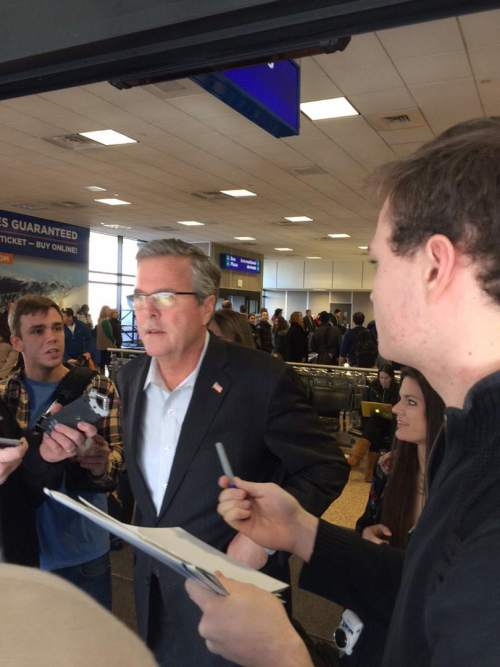 Courtesy  |  Heidi Hatch, KUTV  Jeb Bush arrives in Salt Lake City on his way to meet Mitt Romney, Thursday, Jan. 22, 2015.