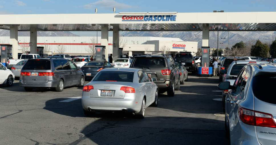 Francisco Kjolseth  |  The Salt Lake Tribune  Drivers line up at Costco in Salt Lake to fill up their tanks with some of the cheapest gas prices around on Friday, Jan. 23, 2015.