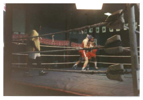 photo courtesy Greg Hughes  Greg Hughes sparring in the ring while on his LDS mission. He served in Australia and Papua New Guinea.