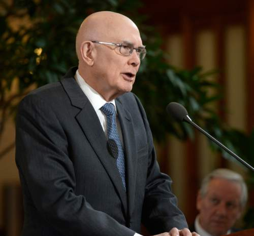 Al Hartmann  |  The Salt Lake Tribune LDS Apostle Dallin H. Oaks makes a public statement for religious freedom and nondiscrimination in Salt Lake City Tuesday Jan. 27, 2015. He was one of four LDS leaders that called for legislation that protects vital religious freedoms while at the same time supporting protections in housing and employment for LGBT people.