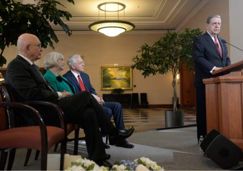 Al Hartmann  |  The Salt Lake Tribune LDS Apostle Jeffrey R. Holland, right, makes a public statement of religious freedom and nondiscrimination in Salt Lake City Tuesday Jan. 27, 2015.  From left, Apostle Dallin H. Oaks, Sister Neill Marriott, and Apostle D. Todd Christofferson listen at the side. The leaders called for legislation that protects vital religious freedoms while at the same time supporting protections in housing and employment for LGBT people.