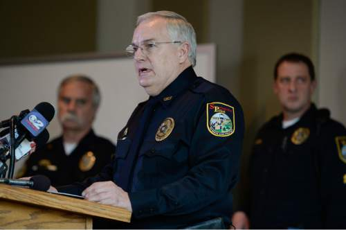 "Francisco Kjolseth  |  The Salt Lake Tribune  Springville Department Chief of Police Scott Finlayson holds a final news briefing on Tuesday, Jan. 27, 2015, in reference to the deaths of five members of the Strack family. It was found that the five members of the Utah family died of ""drug toxicity, in a murder-suicide scenario."