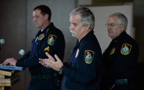 "Francisco Kjolseth  |  The Salt Lake Tribune  Springville Police Department's Lieutenant David Caron, center, answers questions during the final news briefing on Tuesday, Jan. 27, 2015, in reference to the deaths of five members of the Strack family. It was found that the five members of the Utah family died of ""drug toxicity, in a murder-suicide scenario. Also pictured in background from left are Corporal (lead investigator) Greg Turnbow and Chief of Police Scott Finlayson."