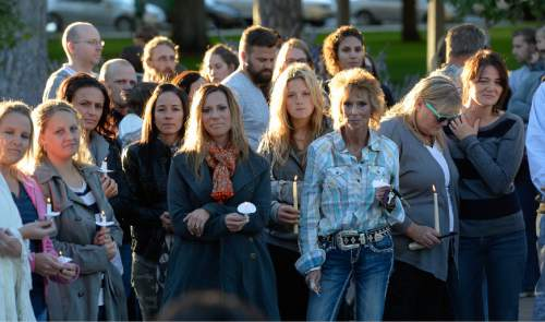 Francisco Kjolseth  |  The Salt Lake Tribune A vigil is held for the Strack family at Pioneer Park in Provo after the family of five were mysteriously found dead in their Springville home last Saturday.