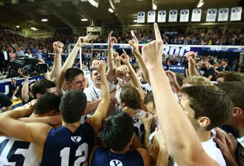 TEAM JW114785  The BYU Men's Volleyball team celebrates their second consecutive MPSF Conference Championship with the win over Stanford.  BYU defeated Stanford 3-0 in the Finals of the MPSF Men's Volleyball Championships hosted by Brigham Young University in Provo, Utah.  April 26, 2014  Photo by Jaren Wilkey/BYU