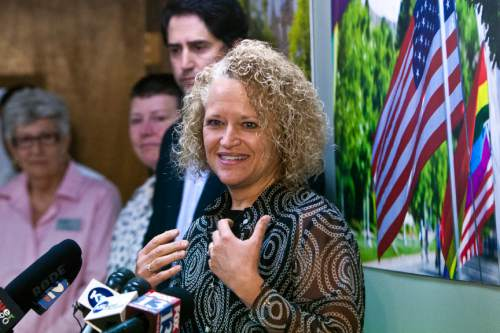 Chris Detrick  |  Tribune file photo Jackie Biskupski speaks during a press conference at the Utah Pride Center in 2013 after the U.S. Supreme Court handed gay-rights supporters major victories by extending federal rights to same-sex couples and reversing a ban on gay marriage in the nationís largest state.