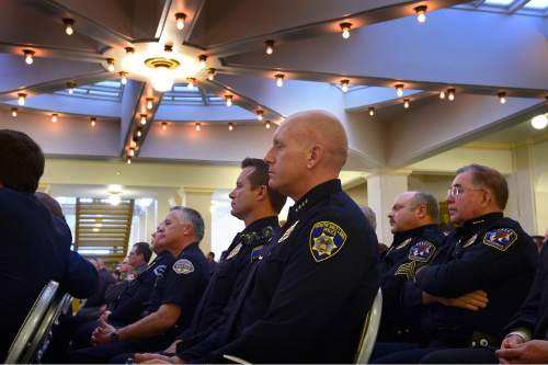 Scott Sommerdorf   |  The Salt Lake Tribune A few of the many law enforcement officers that came to Utah's Salute to Law and Order held in the Hall of Governors at the State Capitol, Thursday, January 29, 2015.