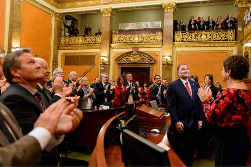 Trent Nelson  |  The Salt Lake Tribune Governor Gary Herbert acknowledges the gallery after delivering the state of the state address at the state capitol building in Salt Lake City, Wednesday January 28, 2015.
