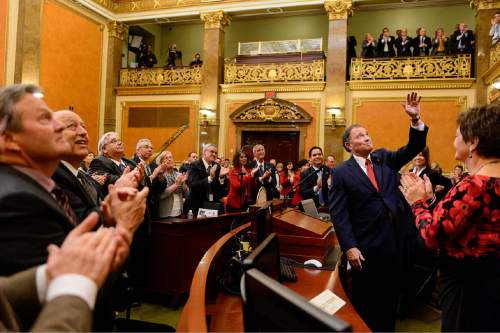 Trent Nelson  |  The Salt Lake Tribune Governor Gary Herbert waves to the gallery after delivering the state of the state address at the state capitol building in Salt Lake City, Wednesday January 28, 2015.