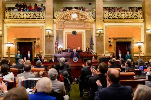 Trent Nelson  |  The Salt Lake Tribune Governor Gary Herbert delivers the state of the state address at the state capitol building in Salt Lake City, Wednesday January 28, 2015.