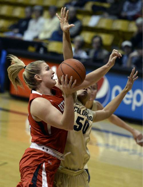 Utah's Taryn Wicijowski drives against Colorado's Jamee Swan during the first half of an NCAA college basketball game Wednesday, Jan. 14, 2015, in Boulder, Colo. (AP Photo/Daily Camera, Jeremy Papasso)