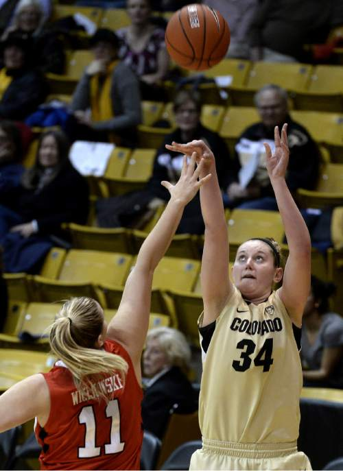 Colorado's Jen Reese takes a shot over Utah's Taryn Wicijowski during the second half of an NCAA college basketball game Wednesday, Jan. 14, 2015, in Boulder, Colo. (AP Photo/Daily Camera, Jeremy Papasso)