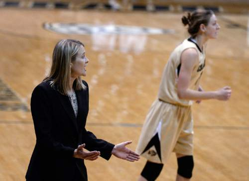Colorado coach Linda Lappe yells to her team during an NCAA college basketball game against Utah on Wednesday, Jan. 14, 2015, in Boulder, Colo. (AP Photo/Daily Camera, Jeremy Papasso)