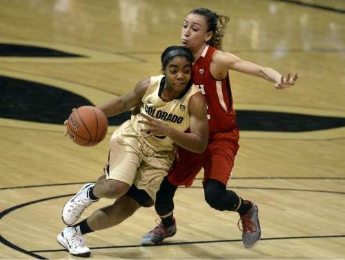 Colorado's Brecca Thomas dribbles past Utah's Danielle Rodriguez during the second half of an NCAA college basketball game Wednesday, Jan. 14, 2015, in Boulder, Colo. (AP Photo/Daily Camera, Jeremy Papasso)