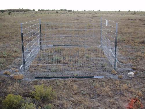 Courtesy     Dustin Ranglack, USU  A full exclosure, at the time of construction, placed by Utah State University ecologists in Utah's Henry Mountains to exclude large herbivores and lagomorphs (especially cottontail rabbits and jackrabbits.)