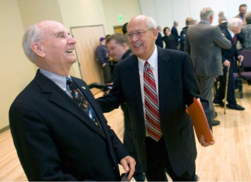 Al Hartmann |  Tribune file photo Former Utah Senator Jake Garn, left, enjoys a laugh with Richard Richards, a former chairman of the Republican National Commitee at the Shepherd Union Building at Weber State University in 2009.  Richards was later honored in a ceremony where the Richard Richards Institute for Politics , Decency and Ethical Conduct at Weber State University was named in his honor.