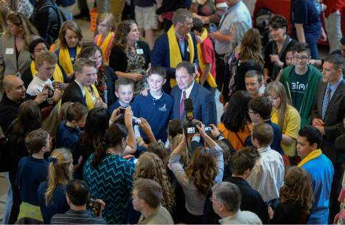 Francisco Kjolseth  |  The Salt Lake Tribune  Students from multiple charter school's gather with Governor Gary Herbert for pictures during Charter School day at the Utah State Capitol on Friday, Jan. 30, 2015.