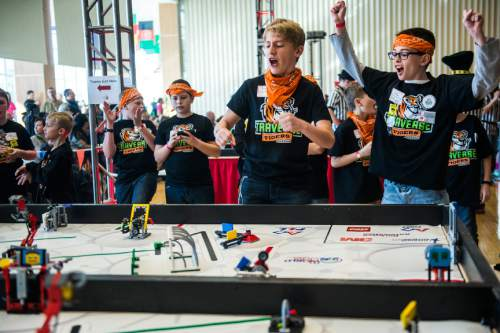 Chris Detrick  |  The Salt Lake Tribune Traverse Tigers team members Bradin Rohde, 12, and Caleb Wallengren, 11, of Lehi, compete in the Fifth Annual Utah FIRST LEGO League State Championship at the University of Utah Union Building Saturday January 31, 2015.