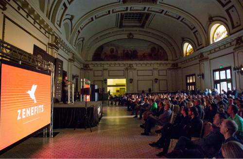 Rick Egan     The Salt Lake Tribune  Zenefits CEO Parker Conrad speaks at the StartSLC event for start-up companies at the Union Pacific depot, Friday, January 30, 2015